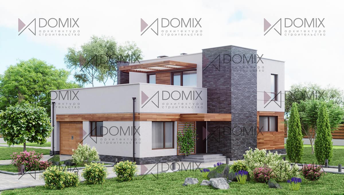 Двухэтажный дом в стиле хайтек 160 метров с внешней отделкой за 8 млн
